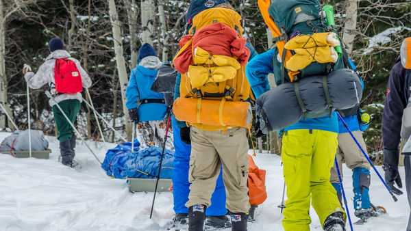 Camp Impeesa Pulks, backpacks, and hiking poles